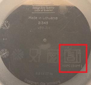 simbolo contenitori microonde - indicazione temperatura massima
